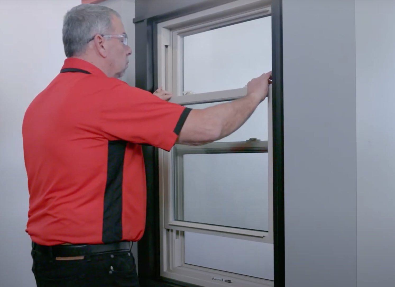 Champion employee opening window