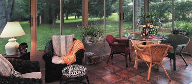 Wood flooring in sunroom
