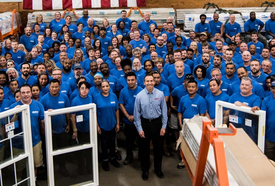 Champion employees in factory
