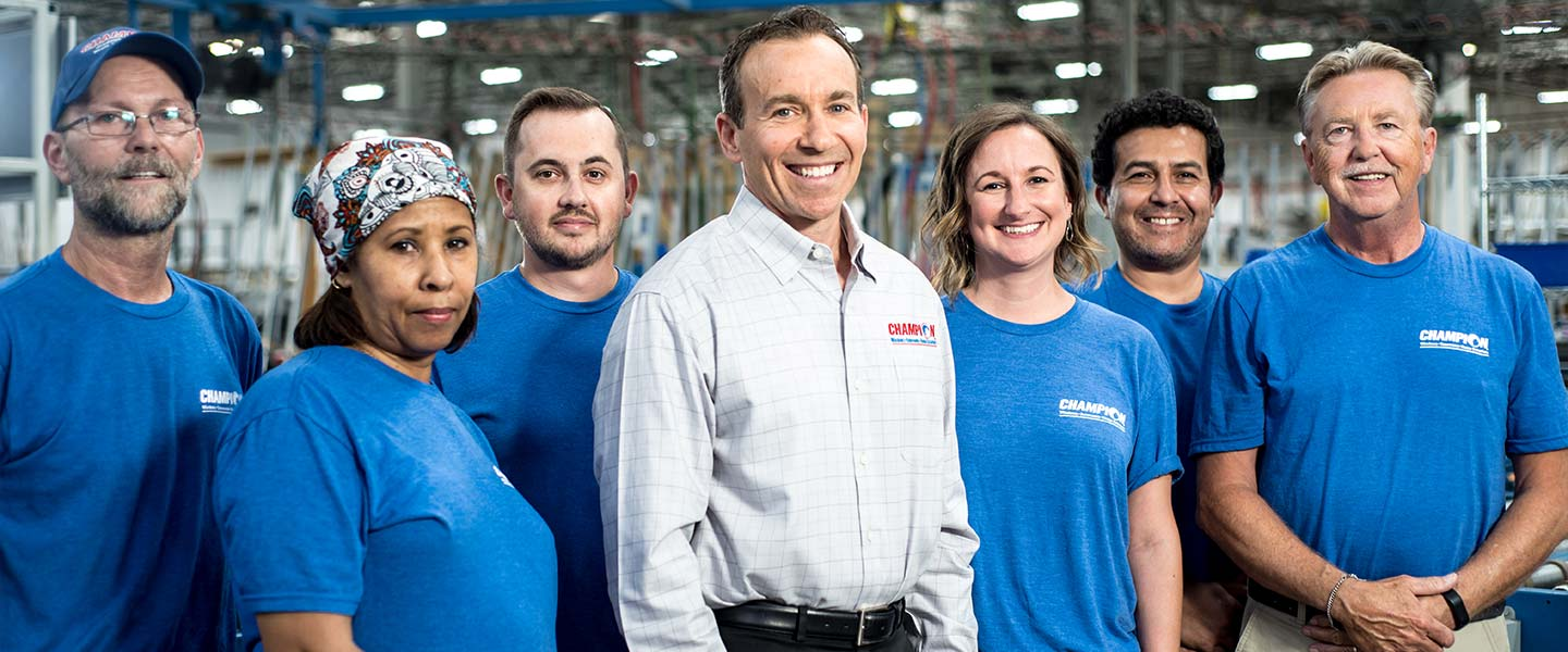 Champion employees in the factory