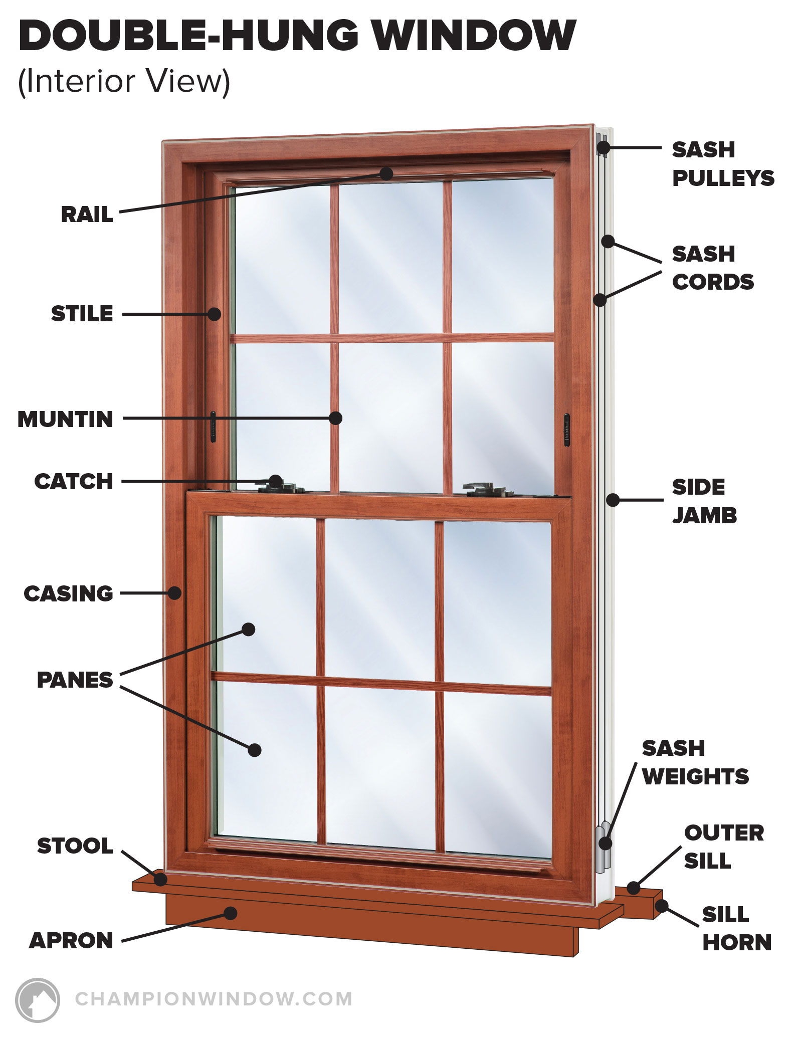 Double-hung window diagram